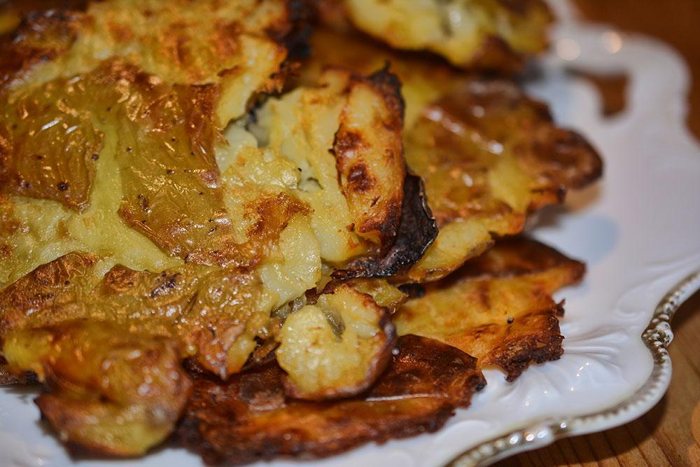 Geplättete Kartoffeln