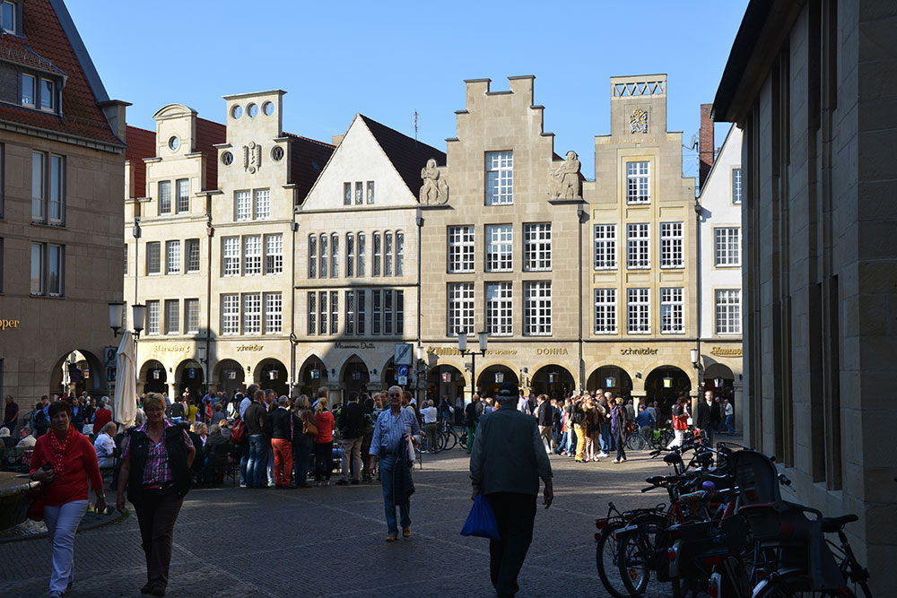 Dewr Prinzipalmarkt in Münster - Hier wurde der westfälische Friede nach dem 30 jährigen Krieg ausgehandelt.